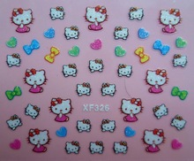 Mix Order: $0.7 XF326 Free Shipping Brand 3D Design Tip Nail Art Hello Kitty Nail Stickers Decals Carving Nail Art Decorations