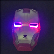 Free Shipping 6pcs/lot Real Cool Mask Iron Man Mask With Light-emitting Children's Toys Luminous Cartoon Show Plastic Toys New(China)