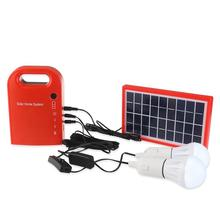 Portable Solar Panel Power Generator USB Cable Battery Charger Emergency Charging LED Lighting System (Red)(China)