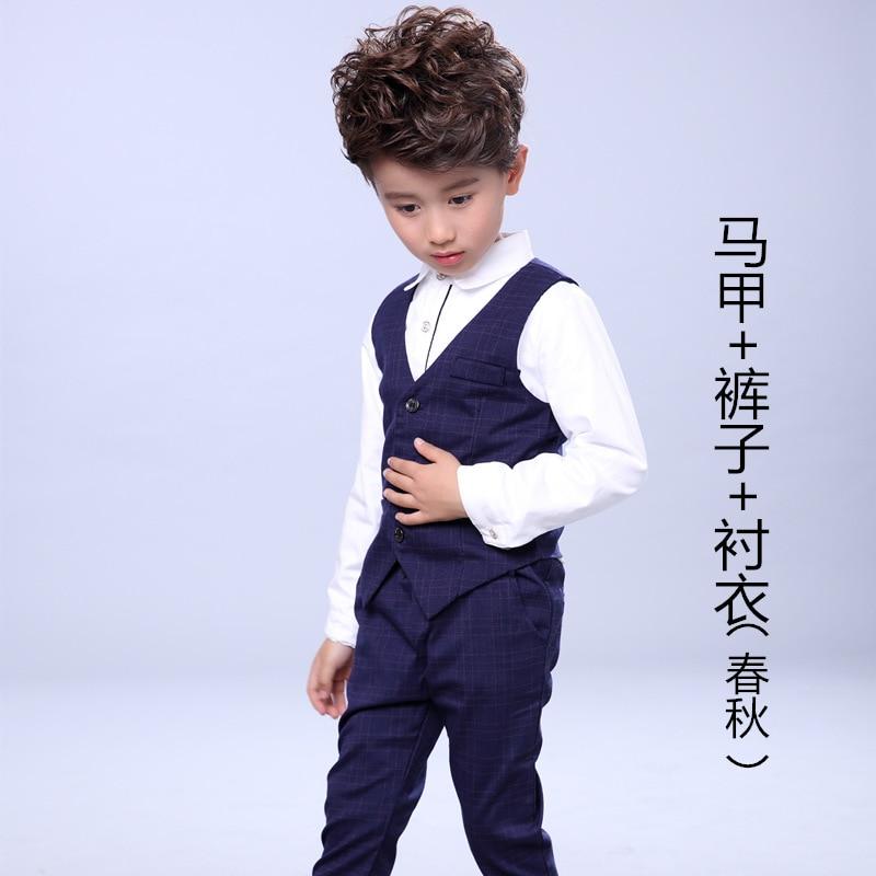 Boys Spring Clothes Sets Children Gentleman Waistcoat + Shirt + Pants 3Pcs Set Boys Formal Suits Wedding Party Clothing H69<br>