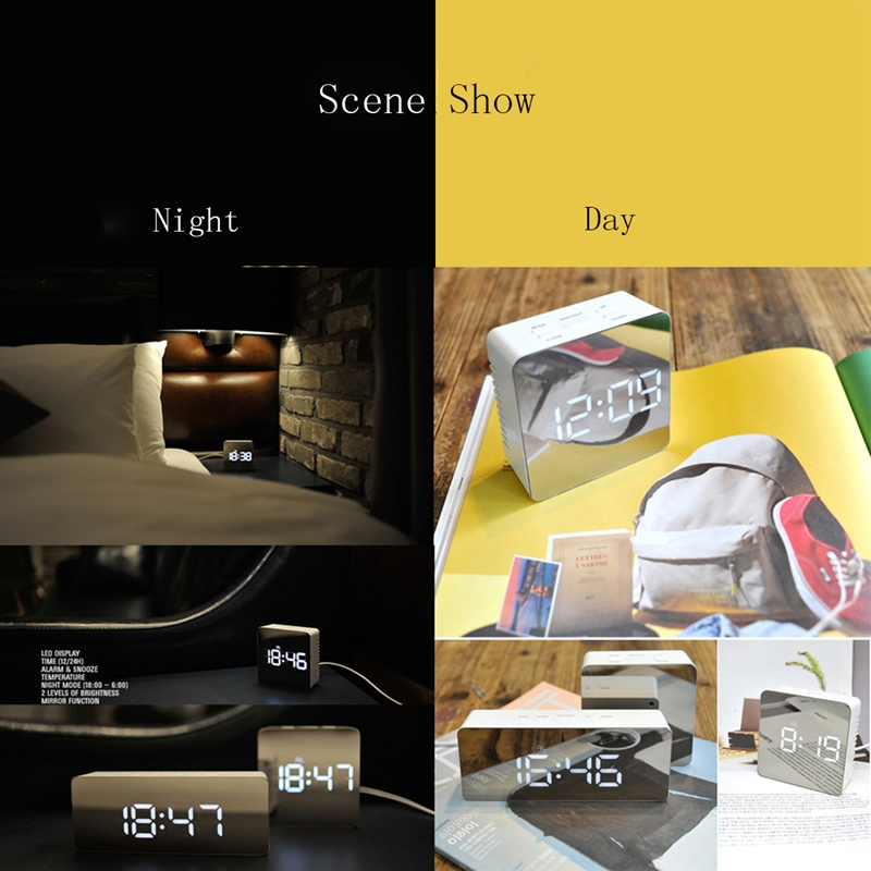 Mirror Digital Clock LED Night Lights Temperature Table Clocks USB Home Decor