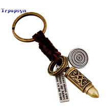 Buy 2017 New Bronze Plating layer Bullet carving Men keychain bag pendant Genuine Leather Car key chain ring holder Jewelry Gift for $3.68 in AliExpress store