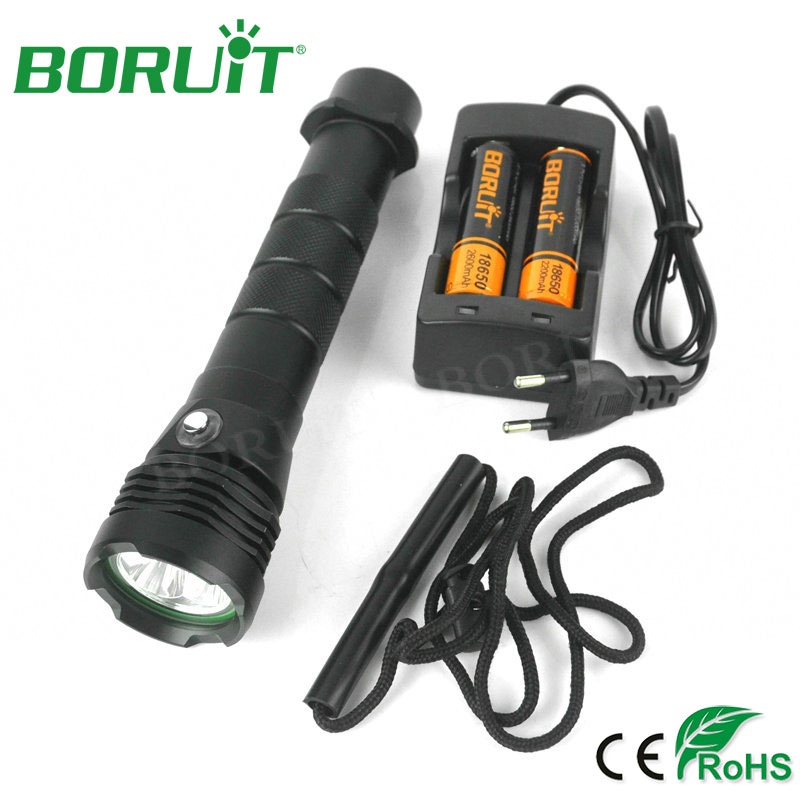 Boruit Diving Flashlight 2500lm 3-Mode L2 LED Flash Light Aluminum Waterproof Underwater 80M Diving Torch Lamp By 18650 Battery<br>