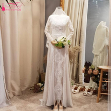 Buy Retro Lace Bohemian wedding dress Long-Sleeve Small Trailing Beach Bridal gowns Backless Vestido De Noiva ZW076 for $170.05 in AliExpress store