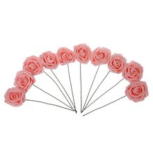Hot PE Artificial Foam Rose Bouquet Bridal Bouquets for Wedding Decor,Pack of 10 Pcs Pink(China)