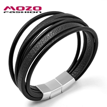 Buy MOZO FASHION Men Trendy Jewelry Wrap Bracelet Multilayer Leather Bracelet Three Sections Stainless Steel Buckle Bracelets PS2023 for $6.69 in AliExpress store