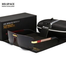 HD.SPACE Polarized Sunglasses Men Brand HD Polaroid Lens Reflective Coating Driving Sunglasses Vintage Male Google Eyewear LD111(China)