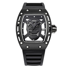 Top brand Street new fashion Skull waterproof watch Quartz movement watch Street sports Men's watch Big dial Trendy watch