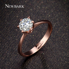 NEWBARK Forever Love Classic Wedding Band Rings Rose Gold Color 6 Prong Round Sparkling AAA CZ Rings Jewelry