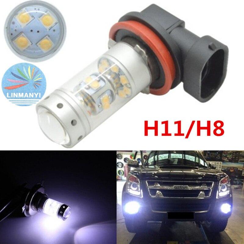 2Piece/Lot No Error Bright White 28SMD 140W H8 H11 LED Bulbs w/ Reflect lens Design For Fog Lights DRL For BMW E90 325 328 335i<br><br>Aliexpress