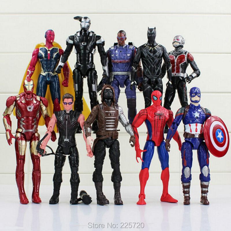 10Pcs/set Avengers Captain America 3 Action Figures Super Hero Spiderman Ant Man Iron man Collection Toys<br><br>Aliexpress