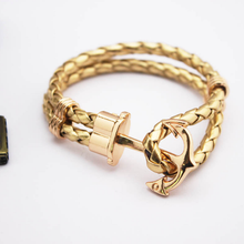 Hot Sale 1 Pc Jewelry Gifts  Leather Rope Handmade DIY Braided Lovely Charms Alloy Gold Navy Anchor Women Men Bracelets Bangles