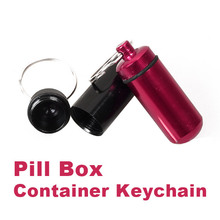 Random Color Aluminum Pill Box Bottle Holder Container Keychain HB88