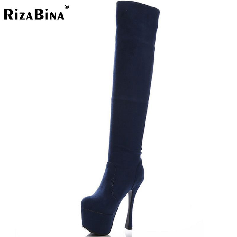RizaBina women platform high heel over knee boots fashion snow warm winter bota long boot brand footwear shoes P20429 size 33-40<br>