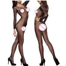 Buy Plus Size Lingerie Sexy Costumes Women Black Hollow Mesh Open Crotch Teddy Babydoll Dress Crotchless Porn Sex Underwear