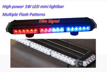 Free shipping Hot sale LED mini lightbar with 44PCS GEN3 1W LED, black housing, DC12V or 24V, 4 meters cable available