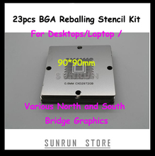 23pcs/Set BGA Reballing Stencil Kit 90*90mm BGA Repairing Stencils For Desktops Laptop Various North and South Bridge Graphics(China)