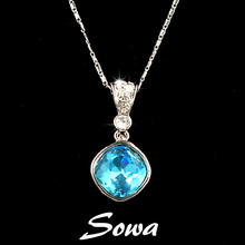 Free Shipping Top Sale Fashion 15mm square light blue Big Shiny Crystal pendant necklace Jewelry for perfume women