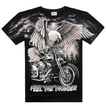 Black Heavy Metal 3D T-shirt Men's Digital Print Eagle Locomotive Casual Cotton Short Sleeves Rocker Tops Tees(China)