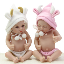 Twins Full Silicone Vinyl 11 Inch Newborn Baby Dolls Truly Real Boy And Girl Babies Cheap Mini Cute Doll Children Birthday Gift
