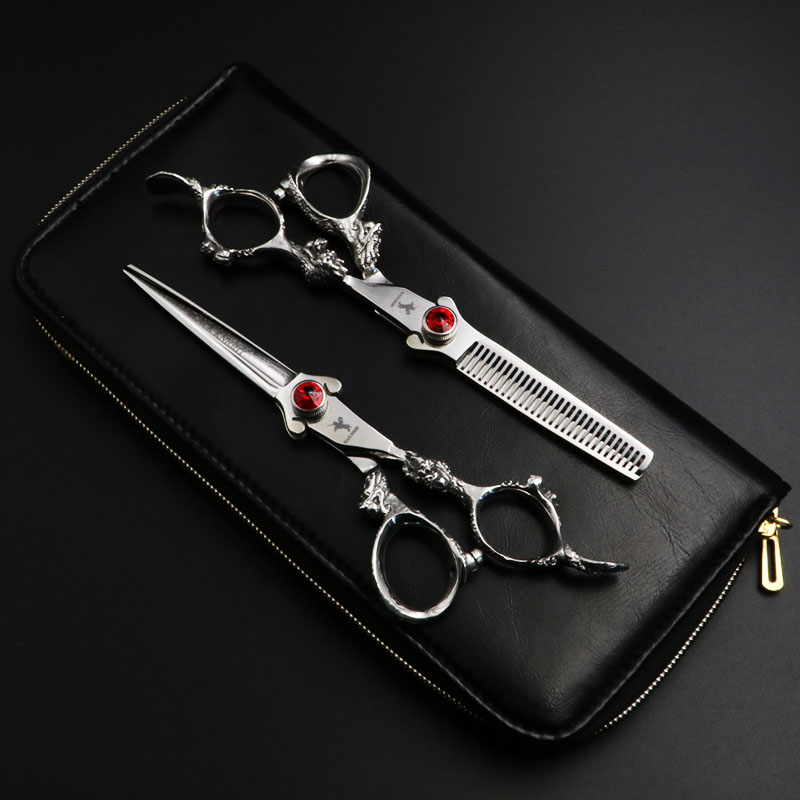 6 inch Professional Hairdressing scissors set Cutting and Thinning Barber shears High quality Dragon Handle Ruby style<br>