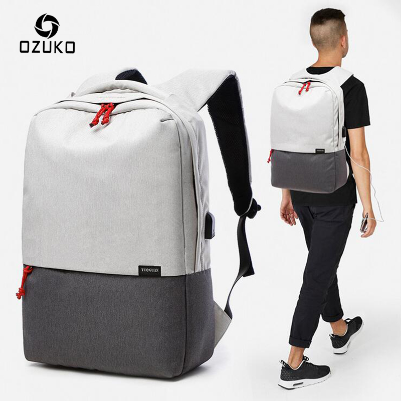 OZUKO New Style Fashion Men Backpack Laptop Schoolbags USB Charge Design Travel Backpacks BookBags 15 Inch Notebook Computer Bag<br>