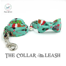 the green  merry christams dog collar and leash set with bow tie  cotton  dog &cat necklace and  leash  for pet christmas gift