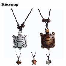 Kittenup New Fashion adjustable Rope skull White Brown tortoise Necklaces turtle Pendants For Women Men simulated-bone Jewelry