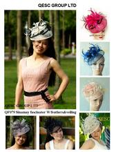 Sinamay Fascinator with feathers&birdcage veil for wedding,Kentucky Derby. 12 colours,black,pink/wood,fuchsia,navy/royal,grey