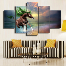 Unframed 5 PCS Modern Canvas Printings Home Decorative Art Picture Paint On Canvas Prints One Fascinating Unicorn Free Shipping