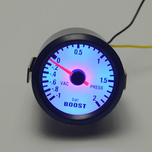 52mm black shell Blue backlight Car turbo boost gauge  turbo gauge bost bar pointer meter unit bar and vac free shipping