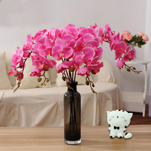 2017 Hot New orchid artificial flowers DIY Fake Butterfly Orchid Silk Flower Bouquet Phalaenopsis Wedding Home Party Decorative