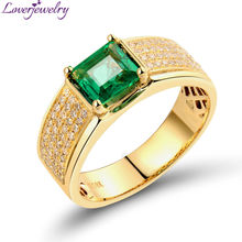 Hot!0.32CT Diamond Withe 0.90Ct Princess Cut Emerald Wedding Ring In 18K Yellow Gold For Sale WU281
