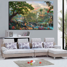 GenDi Wall Art Canvas Painting Pictures Thomas Landscape For Living Room Wonderland Forest River Cuadros Decoration TMS-12