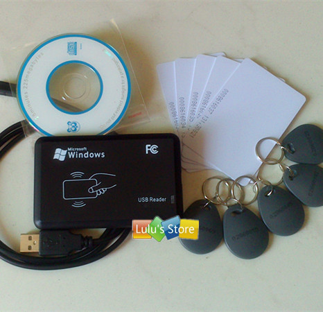 125Khz ID EM reader &amp; writer RFID EM Copier Programmer + 10pcs writable ISO cards &amp; keyfobs<br>