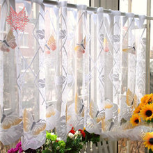 Crazy discount original Foreign trade butterfly sheer curtain,bay windom tulle curtain ,kitchen/living room panel curtain SP1211