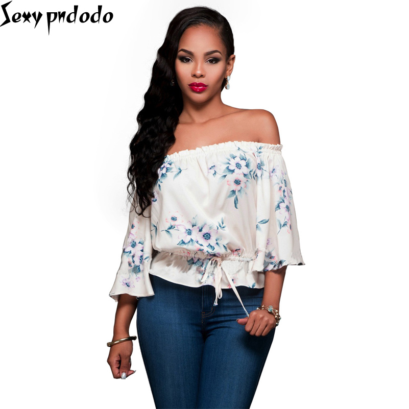 Sexy Shirt Summer Off Shoulder Tops,Blouses For Women Plus Size Floral Printed Chiffon Shirt Casual Loose Beach Tee-Blouse NEW