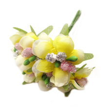 6pcs 3cm Artificial Stamen Bud Berry flower for Wedding Candy Box Decoration Scrapbooking DIY wreaths Fake Flowers (yellow)