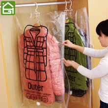 1pc Vacuum Clothing Storage Bags Foldable Space Saver Compression Organizer Clothes Storage Sacks with Hanger Hook for Clothing