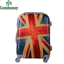 20/24 Inch Vintage Suitcase on Wheels Adults ABS British Flag Luggage with Wheels Girls Trolley Case Men and Women Travel Bag