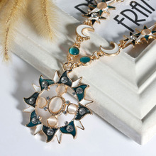 8SEASONS New Fashion Moon Sun God Pendant Necklace Link Cable Chain Gold Color Enamel Created Clear Rhinestone, 1 PC