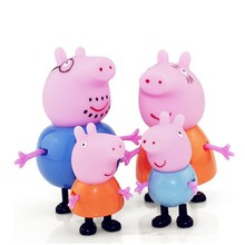 4Pcs/lot Action Toys Figures Peppa pig & George Mummy Daddy Plastic Pvc Pink Pig JuguetesToys For Kids Children Gifts