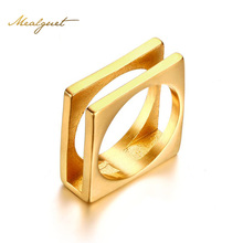 Meaeguet Gold-color Square Double Layer Bridal Rings Stainless Steel Ring For Women Wedding Jewelry USA Size