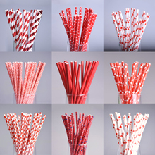 25pcs/lot Red Theme Paper Straws Happy Birthday Wedding Decorative Environmental Dot Heart Drinking Straws Event Party Supplies