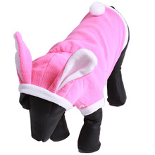 Cute Bunny Puppy Dog Costume Pet Clothes Warm Hoodie Coat Rabbit Dressing up Clothing for Dog Jacket free shipping