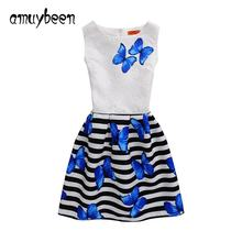 Amuybeen Summer Formal Kids Dresses for Girls Princess Print Costumes A-line Girl Dress Fashion Baby Children Clothes 10 12 Year(China)