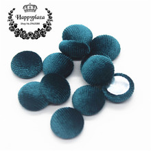15mm 50pcs Peacock Blue Korean Velvet Fabric Covered Round Home Sewing Buttons Flatback DIY Scrapbook Craft