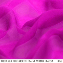 SILK GEORGETTE 114cm width 8momme/100% Pure Silk Georgette Fabric Manufacturer Direct Sale Bright Hotpink NO 55