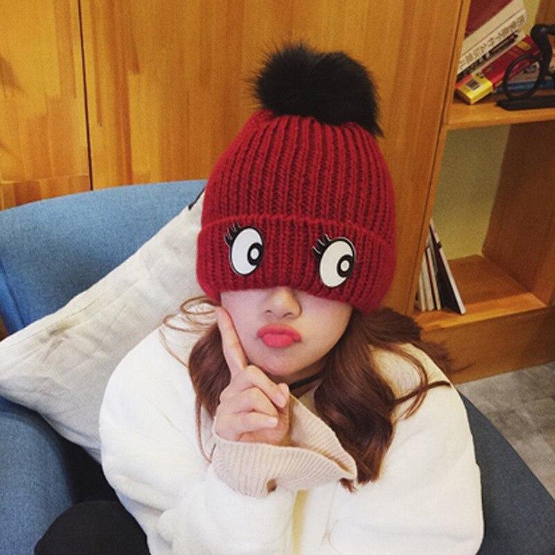 10pcs free shipping/2016-A1115 Acrylic eyes lovely big fluffy ball  cold woven  winter warm  hat skullies beanies capÎäåæäà è àêñåññóàðû<br><br><br>Aliexpress