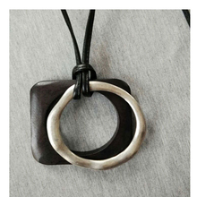 Unique New Fashion Jewelry Wood Square Alloy Round Pendant Necklace Ethnic Double Chunky Pendant Long Leather Necklace For Women